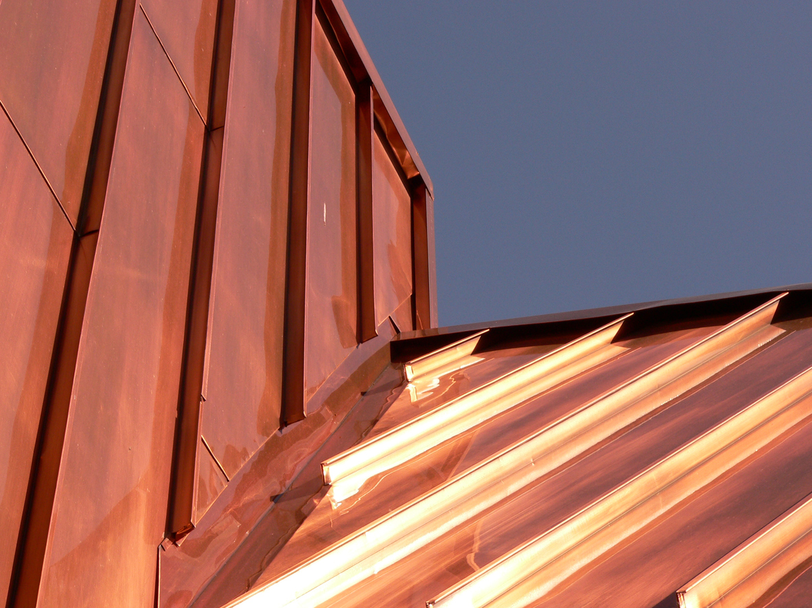 Upward photograph of a copper roof