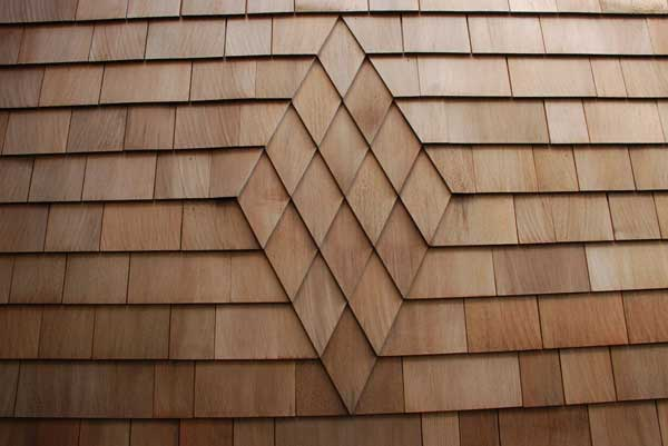 Patterned cedar siding by Landmark Exteriors